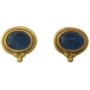 image of Reinstein Ross Gold Sapphire Cabochon Stud Earrings