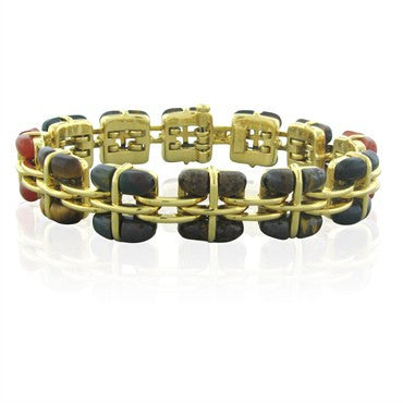 image of Rare Tiffany & Co 18K Gold Multi Gemstone Bracelet