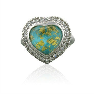 thumbnail image of Judith Ripka Silver CZ Turquoise Gold Leaf White Quartz Heart Ring