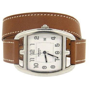 thumbnail image of Hermes Stainless Steel Cape Cod Tonneau Wrap Bracelet Watch CT1.710