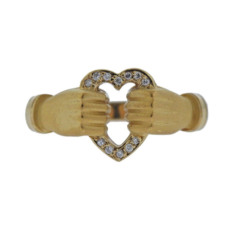 image of Carrera Y Carrera Hands Holding Heart Diamond Gold Ring
