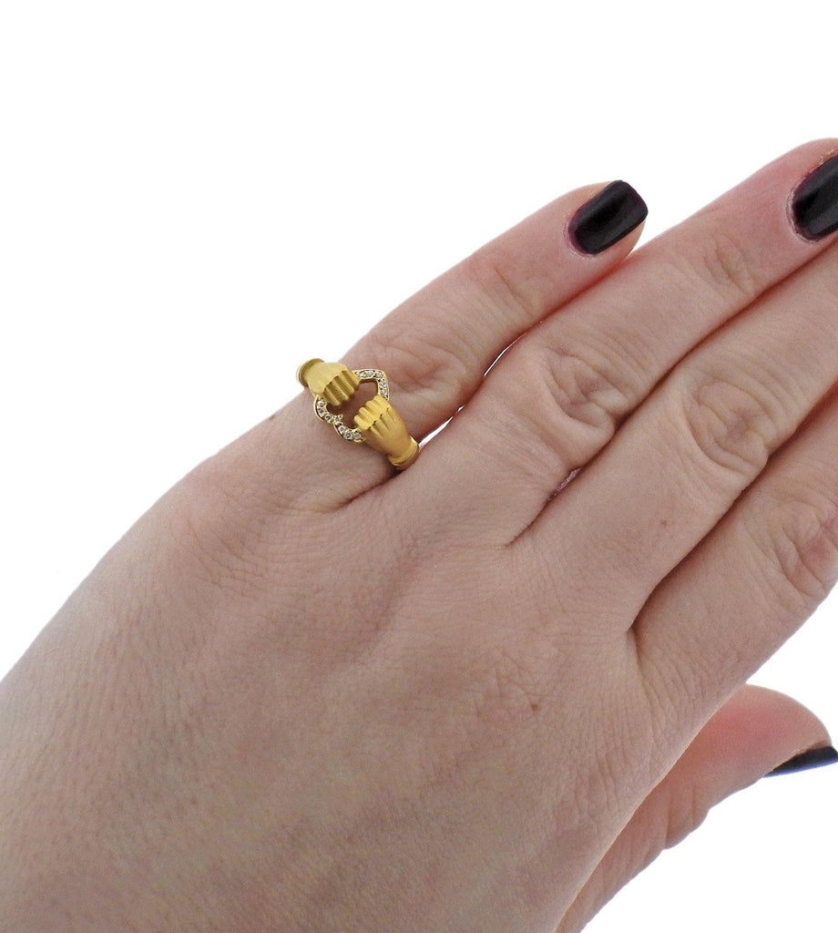 thumbnail image of Carrera Y Carrera Hands Holding Heart Diamond Gold Ring