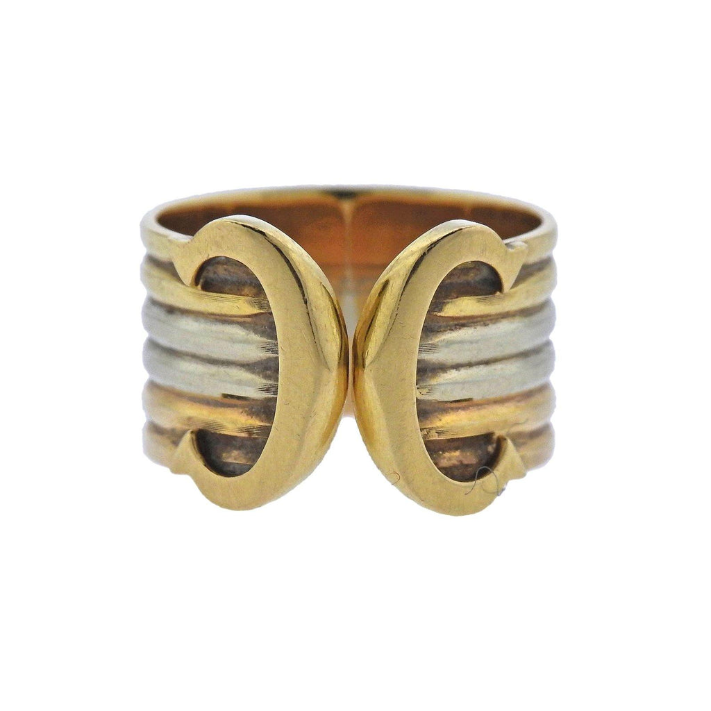 thumbnail image of Cartier Tri Color Gold CC Cuff Ring
