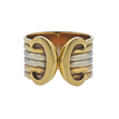 image of Cartier Tri Color Gold CC Cuff Ring
