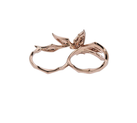 image of Stephen Webster Fly by Night Rose Gold Diamond Two Finger RIng