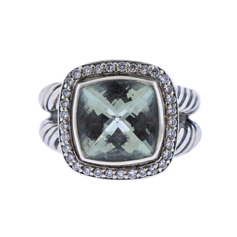 image of David Yurman Albion Silver Diamond Prasiolite Ring
