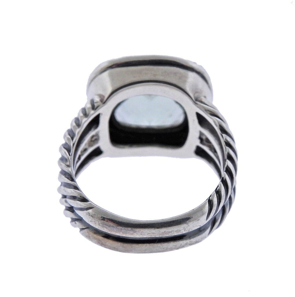 thumbnail image of David Yurman Albion Silver Diamond Prasiolite Ring
