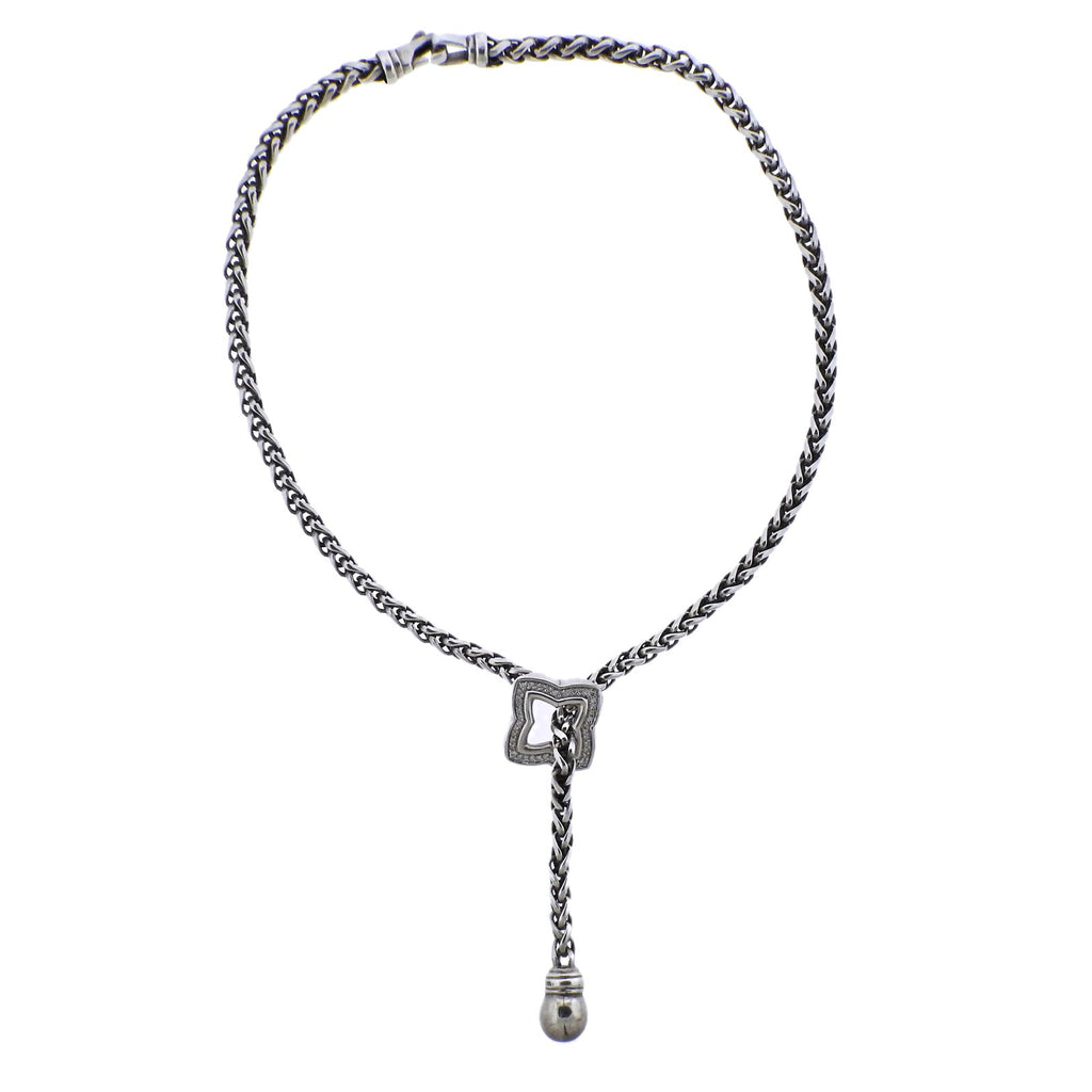 thumbnail image of David Yurman Quatrefoil Diamond Silver Lariat Necklace