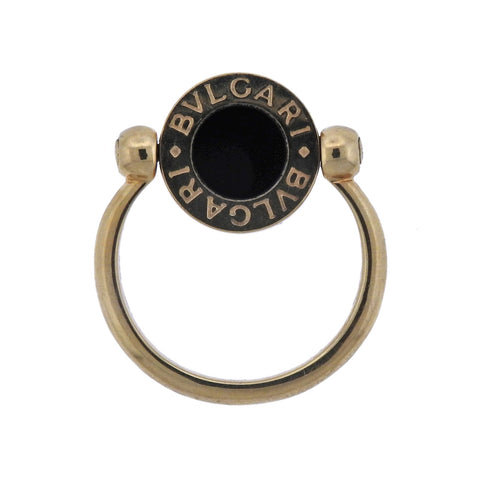 image of Bulgari Coral Onyx Gold Flip Ring