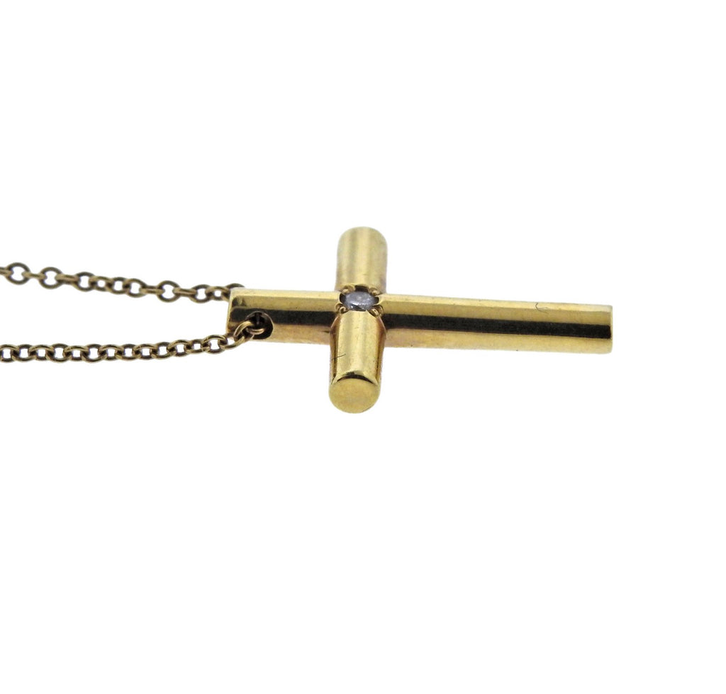 thumbnail image of Tiffany & Co Diamond Gold Cross Pendant Necklace
