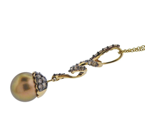 image of Le Vian LeVian Gold Fancy Diamond Chocolate Pearl Pendant Necklace