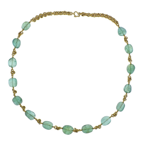 22k Gold Emerald Cabochon Necklace