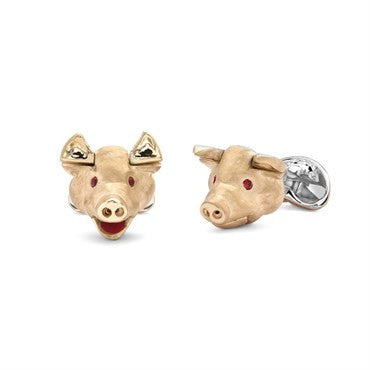 image of Deakin & Francis Ruby Sterling Silver Pig Head Cufflinks