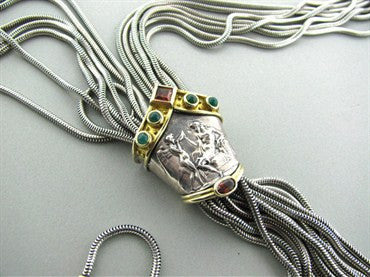 thumbnail image of Seidengang Sterling Silver 18K Gold Emerald Garnet Necklace