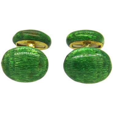 image of Green Enamel 18k Gold Cufflinks