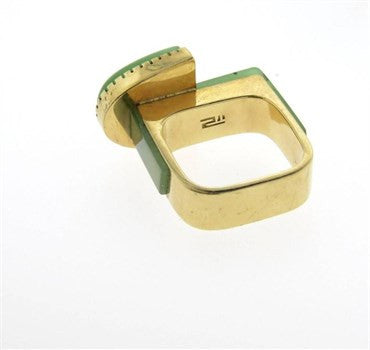 thumbnail image of Richard Chavez Native American Jade Navajo 14k Gold Ring