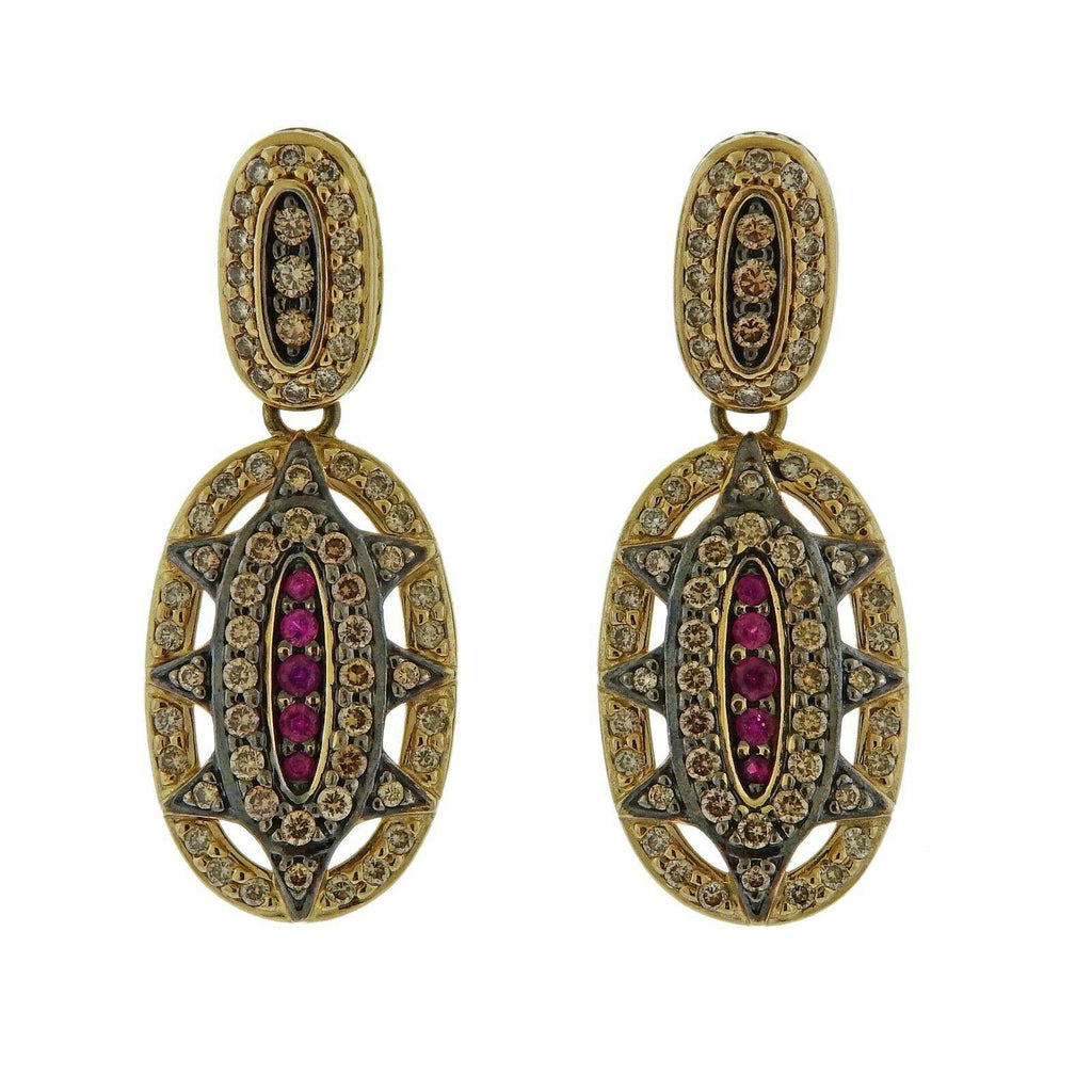thumbnail image of H. Stern Fancy Diamond Ruby Gold Earrings