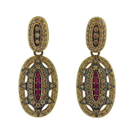 image of H. Stern Fancy Diamond Ruby Gold Earrings