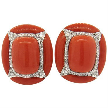 thumbnail image of Large Coral Diamond 18k Gold Earrings