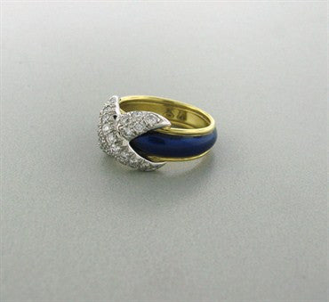 thumbnail image of Tiffany & Co Jean Schlumberger Pave Diamond X Blue Enamel Ring