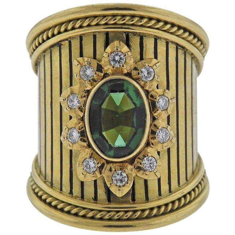 thumbnail image of Elizabeth Gage Green Tourmaline Diamond Gold Ring
