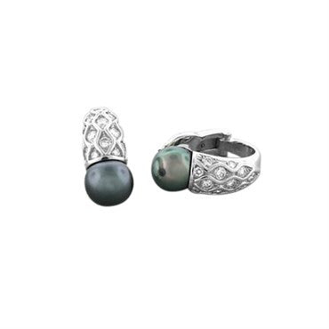 thumbnail image of New Gumuchian Platinum Diamond Tahitian Pearl Gondola Earrings