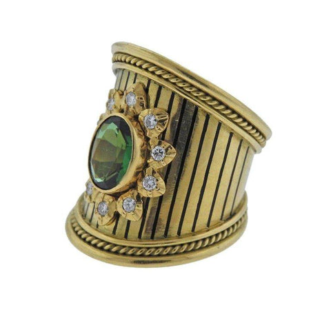 image of Elizabeth Gage Green Tourmaline Diamond Gold Ring