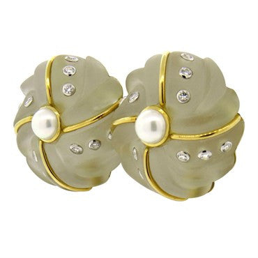 image of Large Trianon Carved Frosted Crystal Pearl and Diamond Gold Earrings
