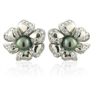 image of New Gumuchian Platinum Diamond & South Sea Pearl Flower Earrings