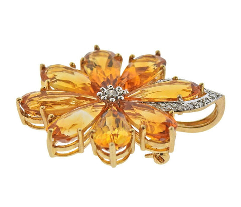 image of Gold Diamond Citrine Pendant Brooch