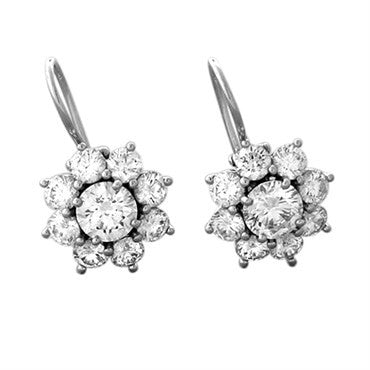 thumbnail image of Harry Winston Platinum Diamond Sunflower Earrings