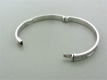 thumbnail image of Tiffany & Co Atlas Hinged 18K White Gold Diamond Bangle Bracelet