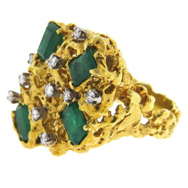 image of 1970s Emerald Diamond 18k Gold Free Form Ring
