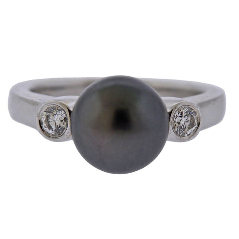 image of Mikimoto Tahitian Pearl Diamond 18k Gold Ring