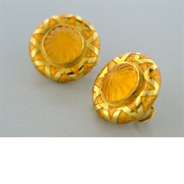 image of Elizabeth Cage 18k Gold Carved Gemstone Earrings