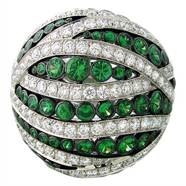 image of Asprey 18K White Gold 3.47ctw Diamond 2.98ctw Tsavorite Ring