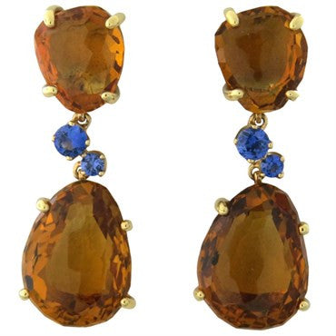 thumbnail image of Pomellato Bahia Citrine Sapphire Gold Drop Earrings