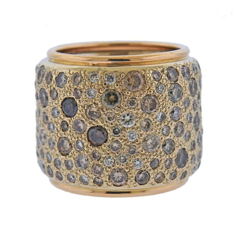 image of Pomellato Sabbia Fancy Diamond Gold Wide Band Ring