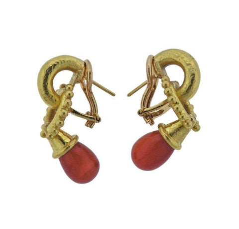 image of Elizabeth Locke Carnelian Gold Earrings