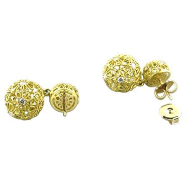 thumbnail image of Paul Morelli Flower 18k Gold Diamond Earrings