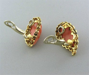 image of 1960s Vintage Spitzer & Furman 18K Gold Carved Coral Diamond Earrings