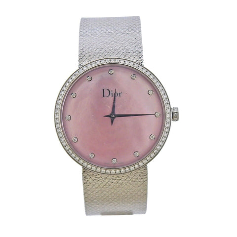 image of La D de Dior Pink Mother of Pearl Diamond Satine Watch CD043115M002
