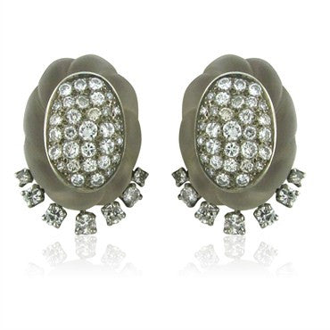 image of Estate 18K Gold 2.80ct Diamond Carved Rock Crystal Earrings