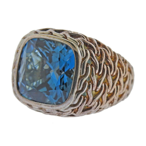 image of John Hardy Sterling Silver Magic Cut Blue Topaz Ring
