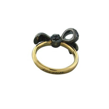 image of Pomellato Forever 18K Rose Gold Black Diamond Bow Ring