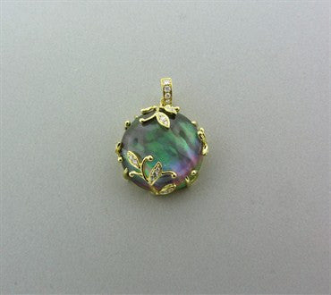 thumbnail image of Frederic Sage Jelly Vine 18K Gold Mother Of Pearl Diamond Pendant