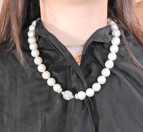 image of South Sea Pearl Diamond Gold Necklace
