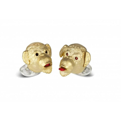 image of Deakin & Francis Ruby Silver Gold-Plated Cheeky Monkey Cufflinks