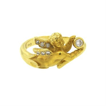 thumbnail image of Carrera Y Carrera 18k Gold Diamond Angelitos Cherub Ring