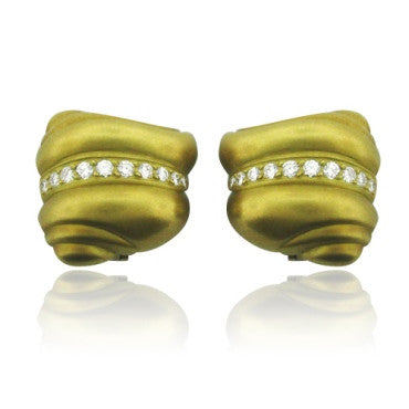 image of Estate 18k Gold Kieselstein Cord Diamond Earrings